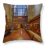 Empire State View From The Nypl Throw Pillow