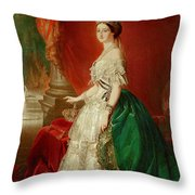 Empress Eugenie Of France 1826-1920 Wife Of Napoleon Bonaparte IIi 1808-73 Oil On Canvas Throw Pillow
