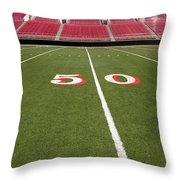 Empty American Football Stadium 50 Yard Line Throw Pillow