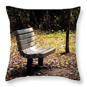 Empty Bench Meditation Spot Throw Pillow