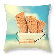 Empty Ice Cream Cones Throw Pillow