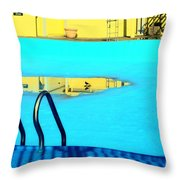 Empty Public Swimming Pool Bronx New York City Throw Pillow