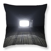 Empty Room With Illuminated Television Throw Pillow