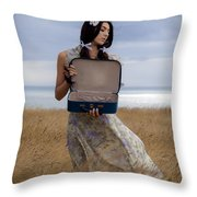 Empty Suitcase Throw Pillow