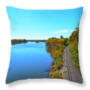 Empty Train Tracks Of Rockford On The Rock River With Fall Colors Throw Pillow