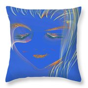 En Blue Throw Pillow