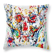 Enamels Skull Painting Throw Pillow