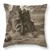 Enceladus Buried Underneath Mount Etna Throw Pillow