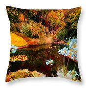 Enchaned Blue Lily Pond Throw Pillow