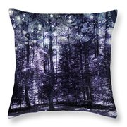 Enchanted Plum Forest Throw Pillow