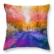 Enchanted Rainbow Forest  Throw Pillow