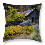 Enchanted Spaces Cabin In The Woods 2 Throw Pillow
