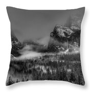 Enchanted Valley In Black And White Throw Pillow