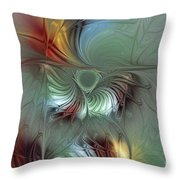 Enchanting Flower Bloom-abstract Fractal Art Throw Pillow by Karin Kuhlmann