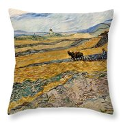 Enclosed Field With Plowman  Throw Pillow