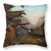 Encounter At Grizzly Pass Throw Pillow