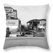 End Of The Line In Black And White Throw Pillow