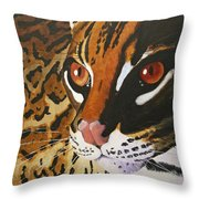 Endangered - Ocelot Throw Pillow
