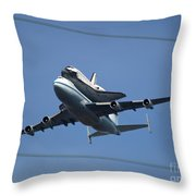 Endeavour Over Moffett Field Throw Pillow