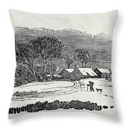 Endpiece, Late 18th Or Early 19th Century Wood Engraving 99;landscape; Winter; Figure; Snow; Snowy; Throw Pillow