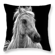 Energetic White Horse Throw Pillow