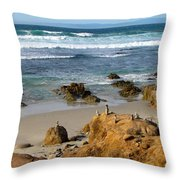 Energizing Seascape At Spanish Bay Throw Pillow
