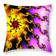 Energy - Yellow Purple And Red Digital Fractal Artwork Throw Pillow