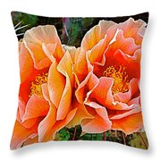 Engelmann Prickly Pear Cactus Flowers In Big Bend National Park-texas Throw Pillow