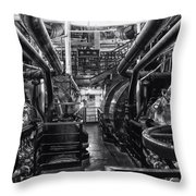 Engine Room Queen Mary 02 Bw 01 Throw Pillow