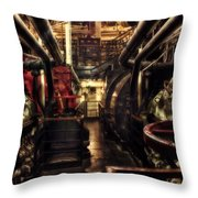 Engine Room Queen Mary 02 Sepia Throw Pillow