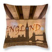 England Graffiti Landmarks Throw Pillow