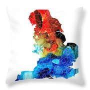 England - Map Of England By Sharon Cummings Throw Pillow