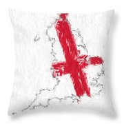 England Painted Flag Map Throw Pillow