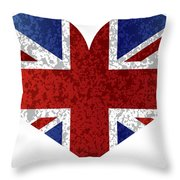 England Union Jack Flag Heart Textured Throw Pillow