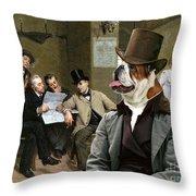 English Bulldog Art - The Latest News Throw Pillow