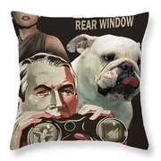 English Bulldog Art Canvas Print - Rear Window Movie Poster Throw Pillow