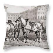 English Farm Horses, 1823 Throw Pillow