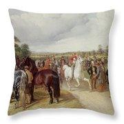 English Horse Fair On Southborough Common Throw Pillow by John Frederick Herring Snr