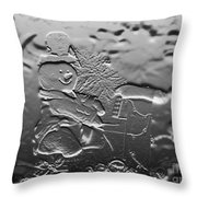 Engraved Snowman Playing The Piano Throw Pillow