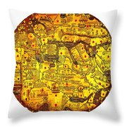 Engraved World Map Oriented With South Throw Pillow