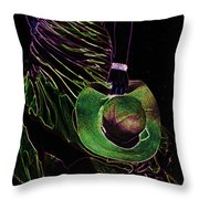 Enigma Emerald. Black Art Throw Pillow by Jenny Rainbow