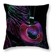 Enigma Purple. Black Art Throw Pillow by Jenny Rainbow