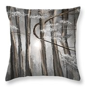 Enigmatic Woods- Shades Of Gray Art Throw Pillow by Lourry Legarde