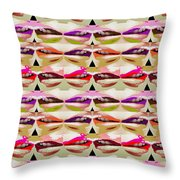 Enjoy Bliss Of Artistic Sensual Aura Lips  Kiss Romance Pattern Digital Graphic Signature   Art  Nav Throw Pillow