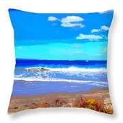 Enjoy The Blue Sea Throw Pillow