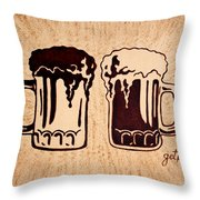 Enjoying Beer Throw Pillow