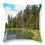 Enjoying Des Chutes River In Des Chutes Nf-or Throw Pillow