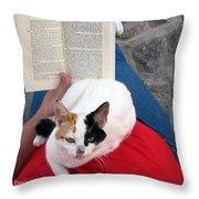 Enjoying Reading Throw Pillow