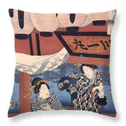 Enjoying The Fireworks And The Cool Of The Evening Throw Pillow