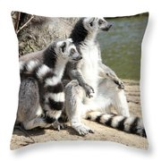 Enjoying The First Sun Throw Pillow by Jackie Mestrom